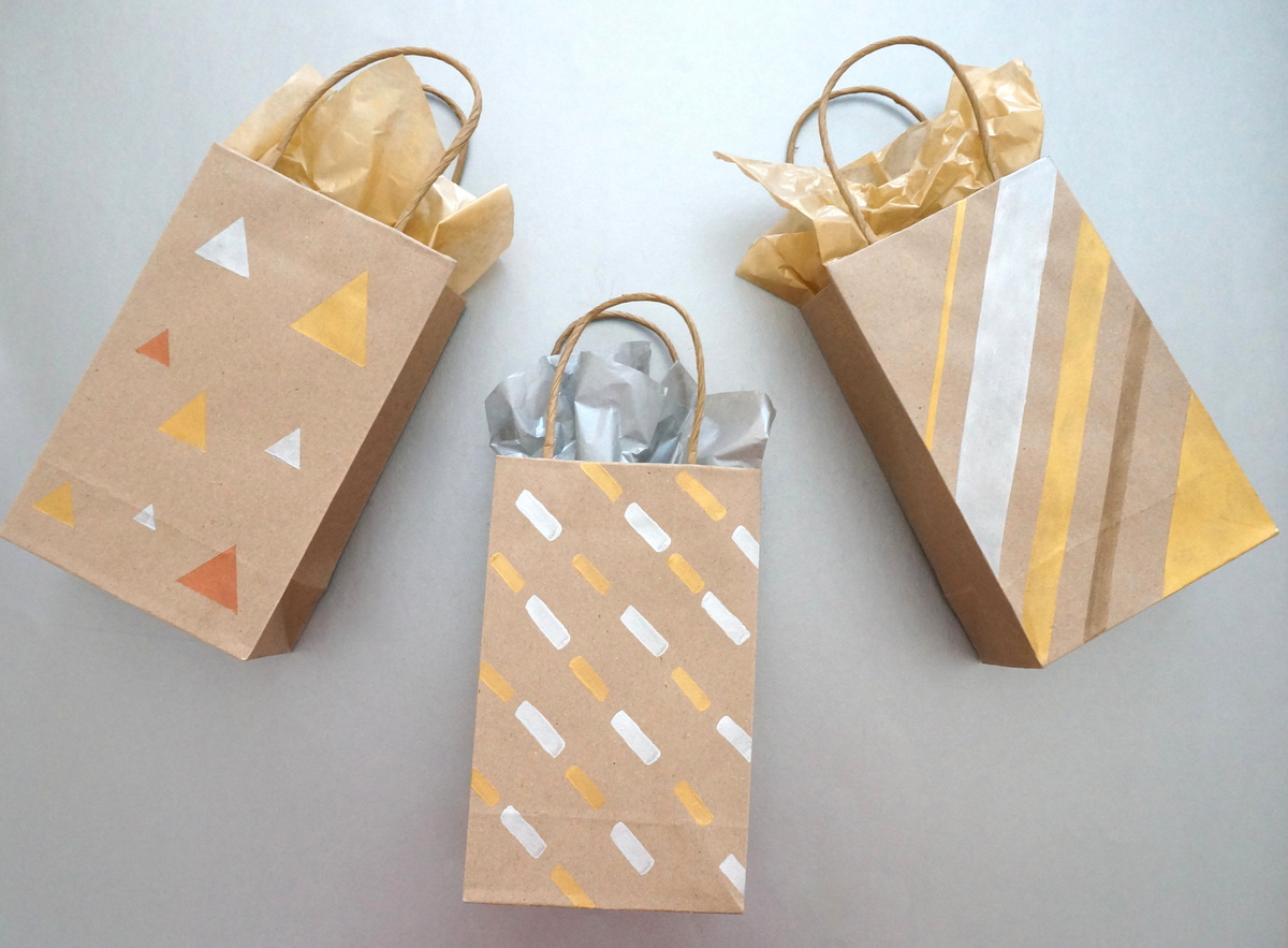 DIY metallic gift bags Painted DIY Gift Bags with Metallic Flair