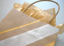 DIY metallic striped gift bag