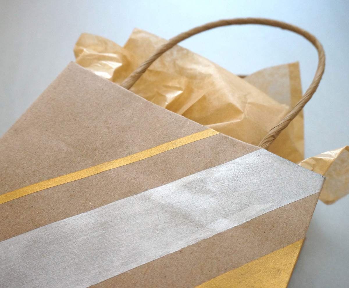 DIY metallic striped gift bag