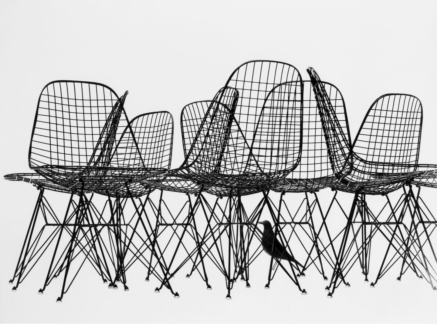 This famous image by Charles Eames shows the bird's silhouettesetagainst a geometric grid of Eames Wire Chairs. Image© 2005 Eames Office, LLC via Vitra.
