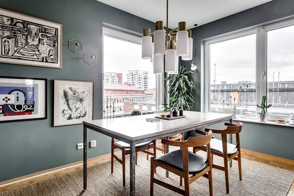 Elegant dining area with a view of Stockholm