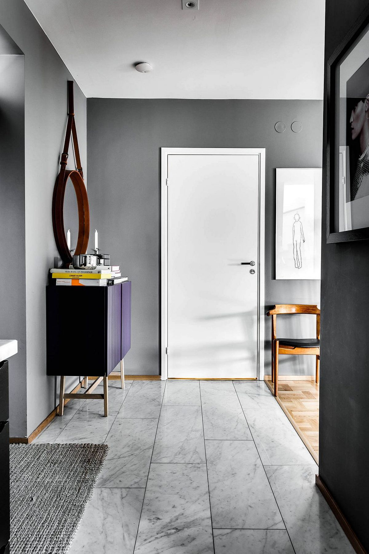 Entrance to the refined apartment in Stockholm with Scandinavian style