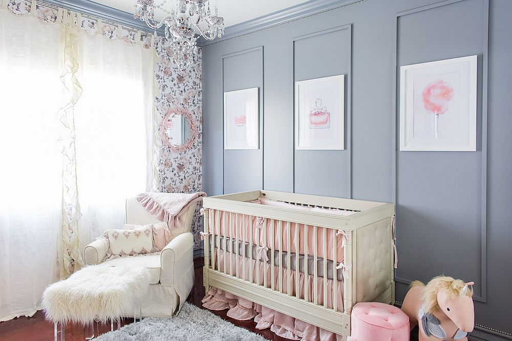 Exquisite contemporary nursery in bluish-gray and pink looks both trendy and cozy [Design: Vanessa Antonelli, NessaLee Baby]