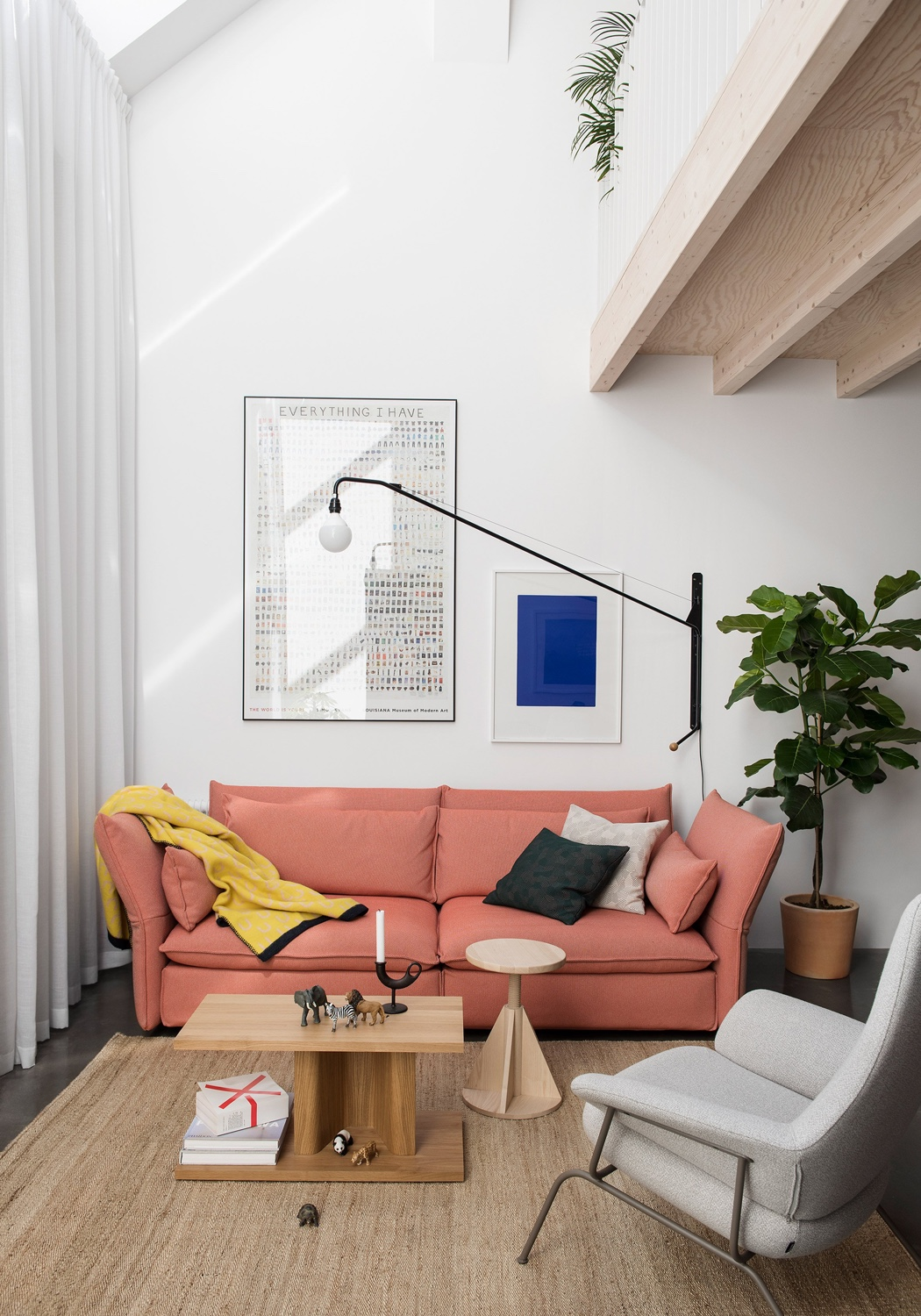 A cosy corner in a Stockholm residence designed by Malmö-based architectural studio Förstberg Ling. Photo by Erik Lefvander via Dezeen.