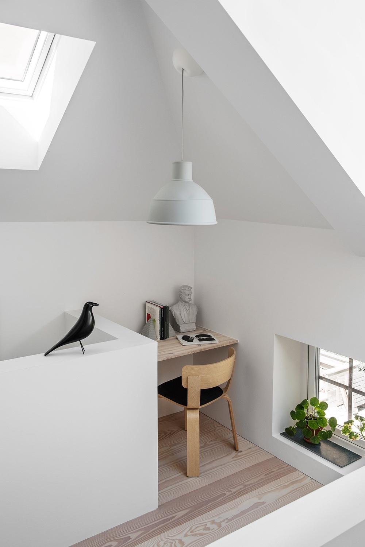 A cosy reading corner in a Stockholm residence designed by Malmö-basedarchitectural studio Förstberg Ling.Photo byErik Lefvander via Dezeen.