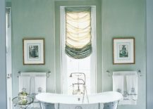 Fabulous traditional bathroom in pastel green and gray with lots of natural light