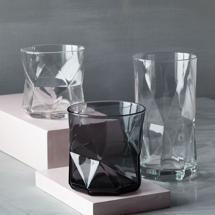 Faceted glassware from West Elm