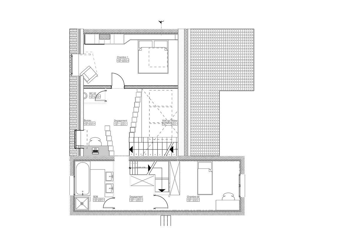 First level floor plan of the bookshelf house in Paris