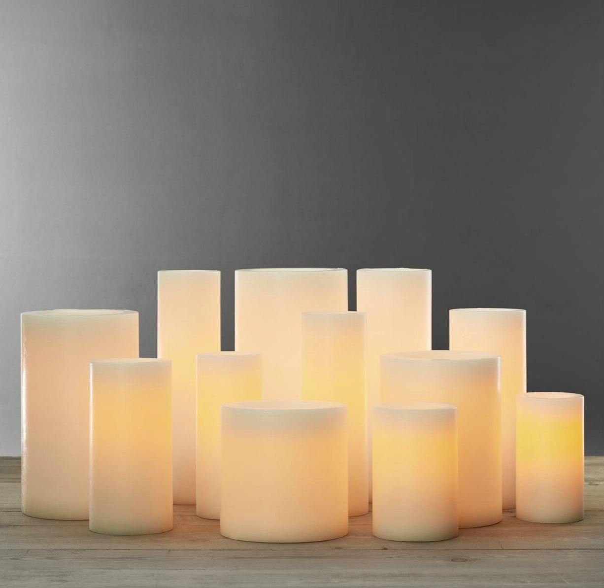 Flameless pillar candles from Restoration Hardware