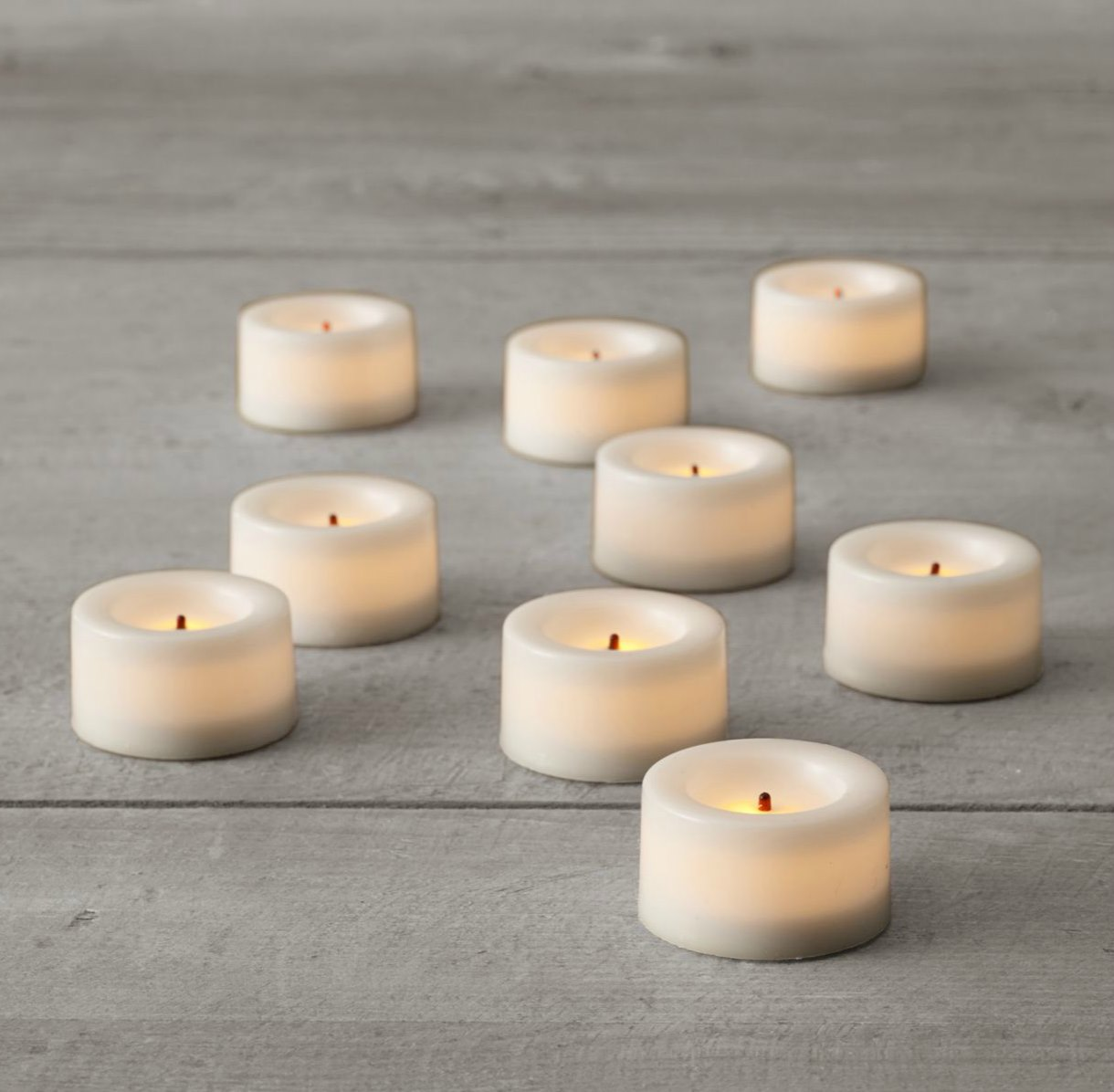 Flameless tea lights from Restoration Hardware