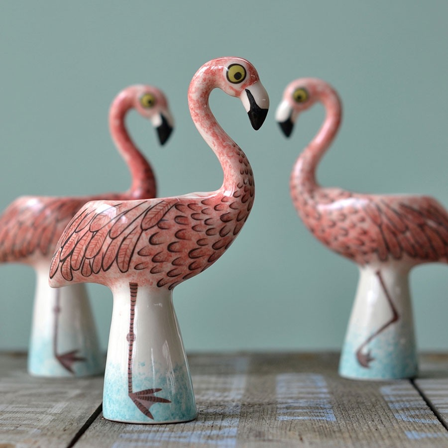 Flamingo egg cups. Image © 2016 Hannah Turner Ceramics.
