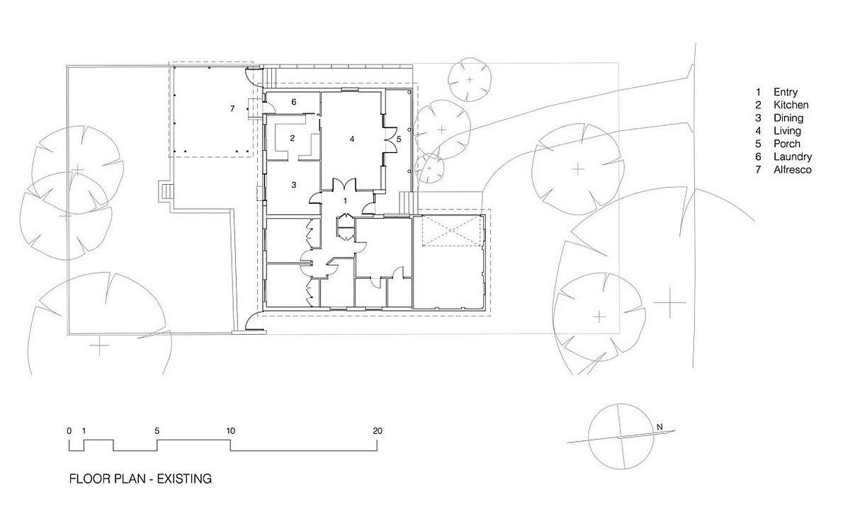 Floor plan of 1960s house in Belrose, Sydney before its modern renovation