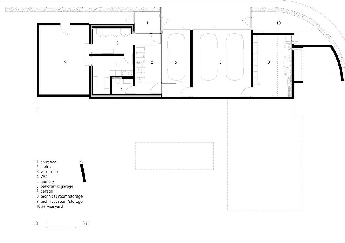 Floor plan of lower level of Pagoda House i Bulgaria