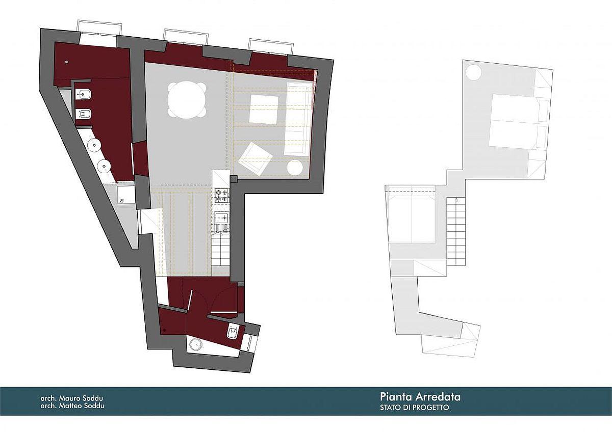Floor plan of remodeled Italian home with smart mezzanine level