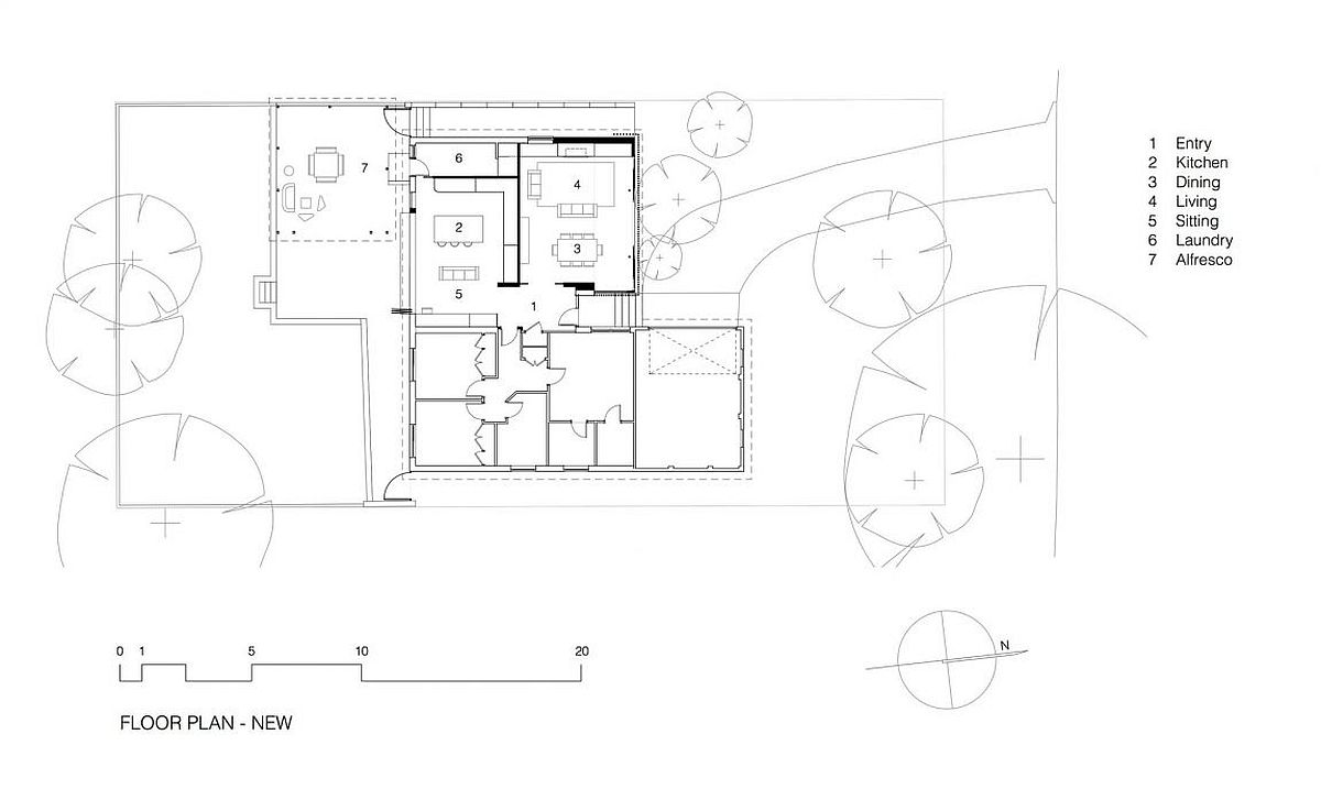 Floor plan of the Escu house after renovation