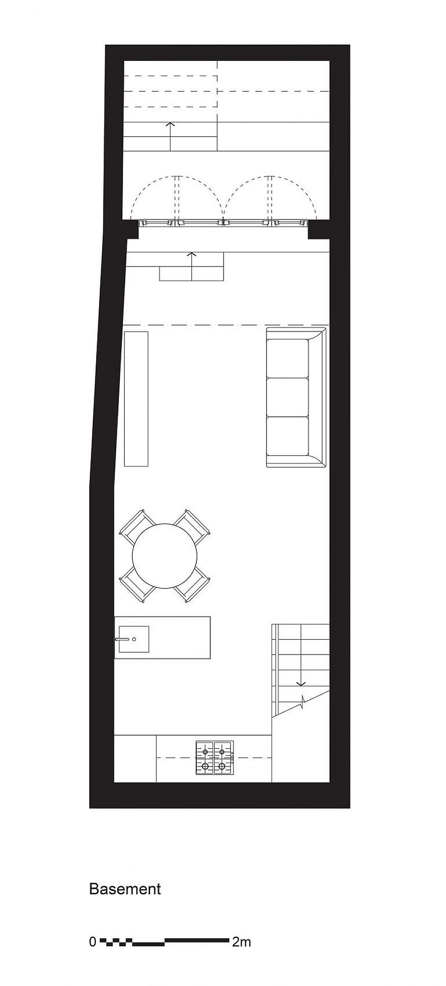 Floor plan of the basement level living, dining and kitchen areas