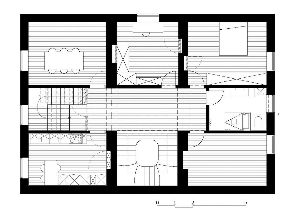Floor plan of the living area of the Luxembourg house