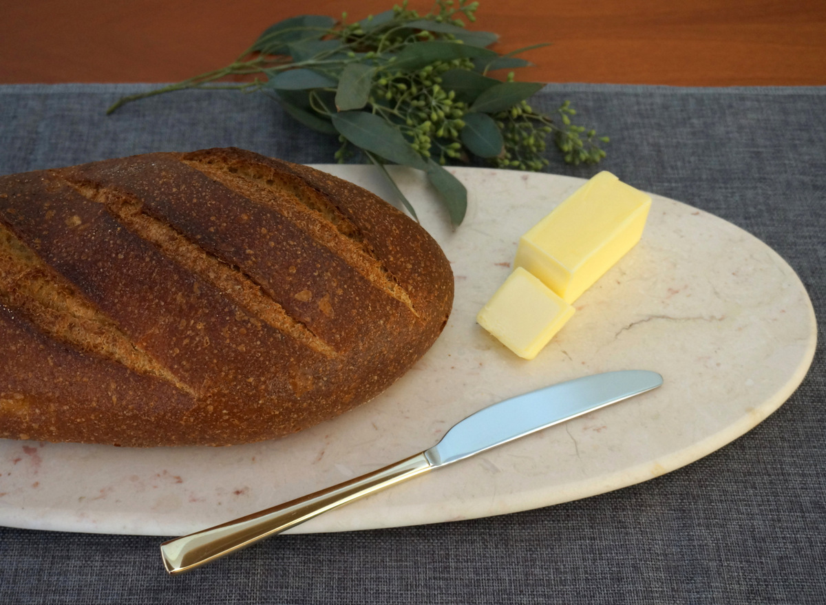 Fresh bread on a marble serving board