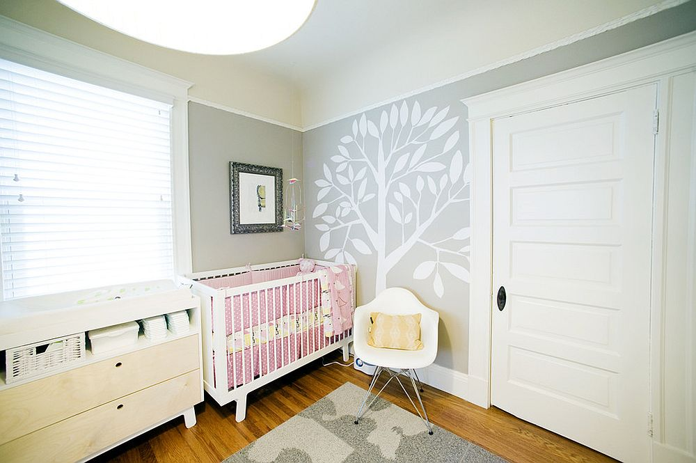 Gender neutral nursery in gray with a dash of pink [Design: Regan Baker Design]