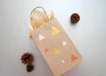Geo gift bag with metallic paint