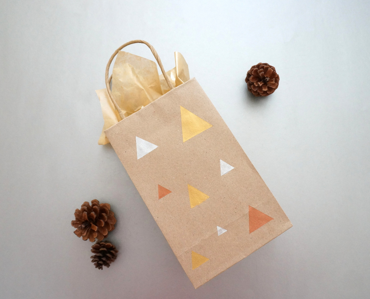 Geo gift bag with metallic paint