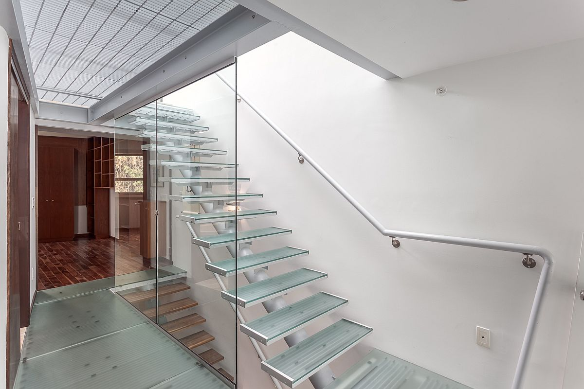 Glass flooring, stairs and skylights bring in ample natural light