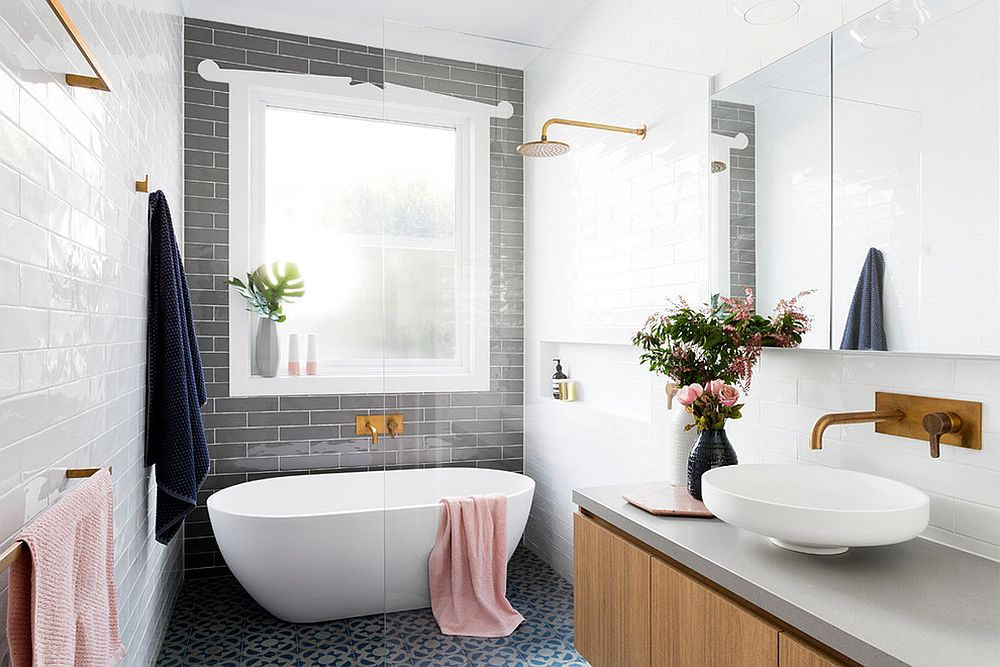 Gray bathrooms allow you to switch between accent hues with ease