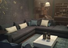 Grey sofa with smoky blue pillows