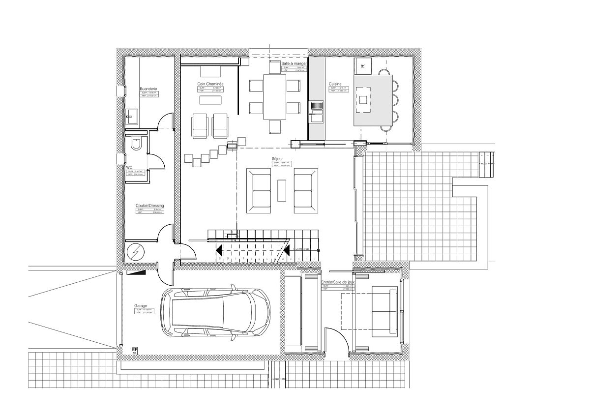 Ground level floor plan of the Bookshelf House