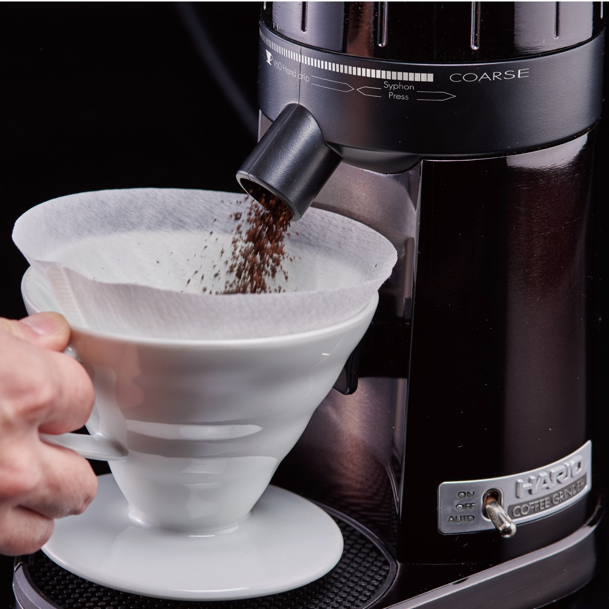 Hario electric V60 coffee grinder.