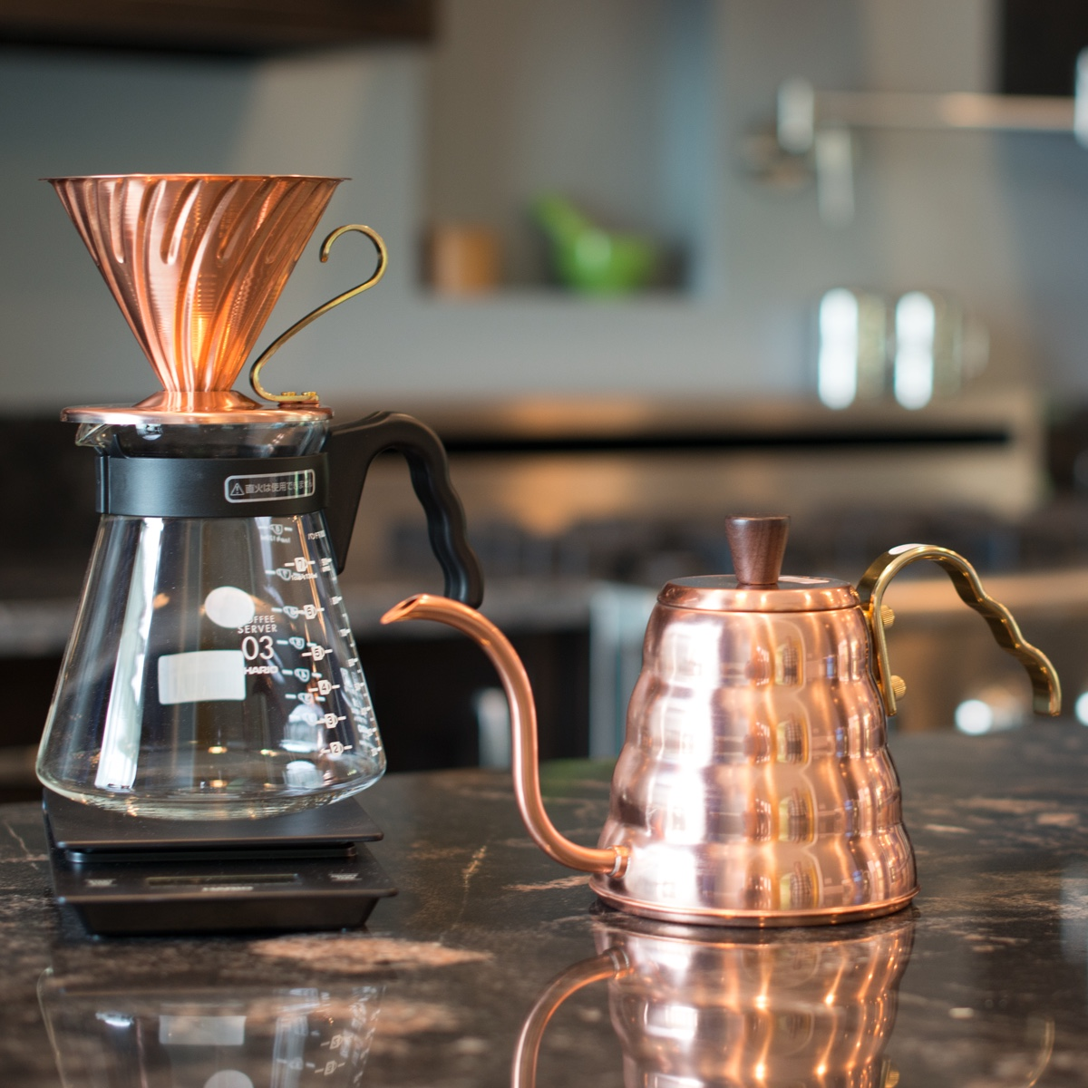 V60 copper kettle and dripper. Image via Prima Coffee Equipment.