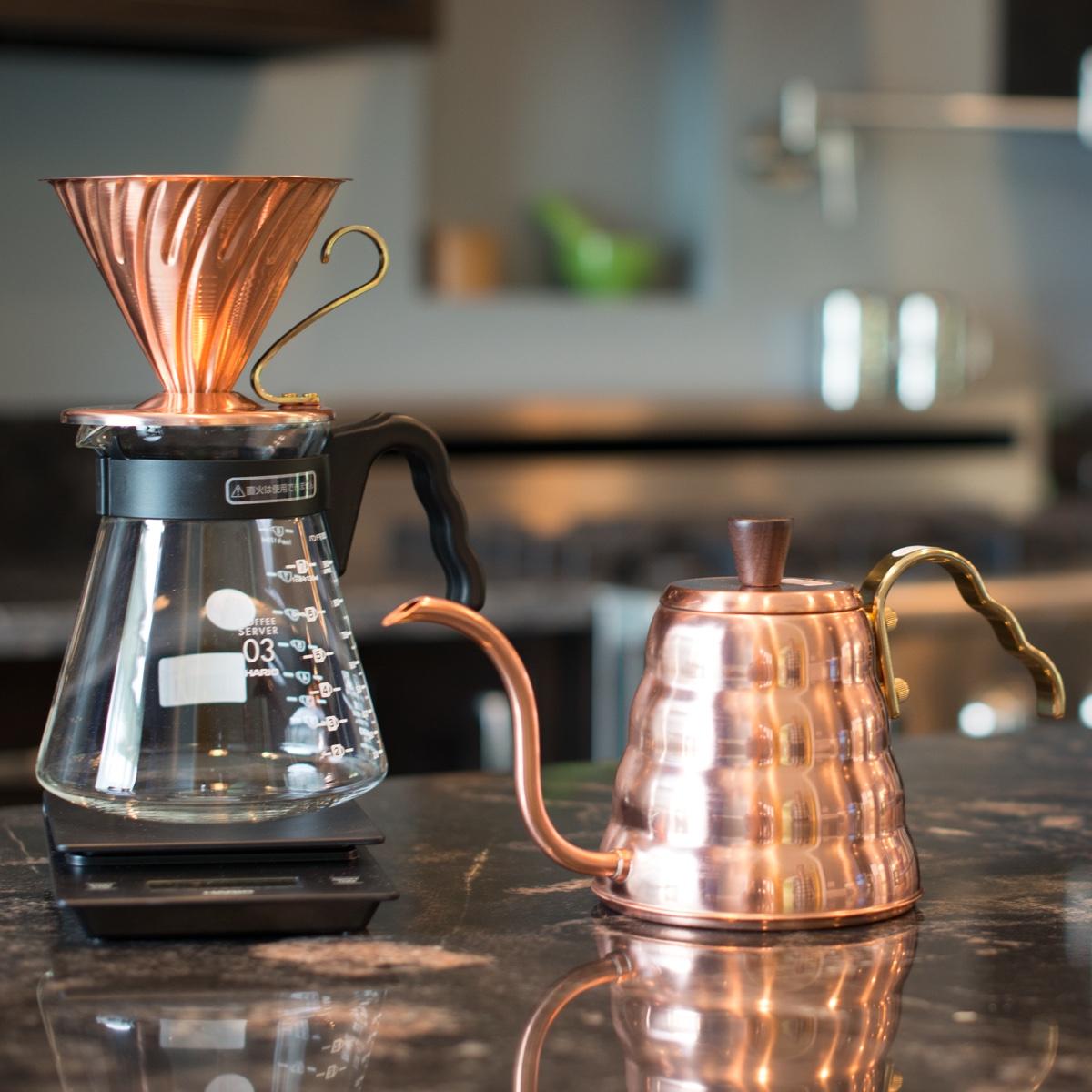 V60 copper kettle and dripper. Image viaPrima Coffee Equipment.