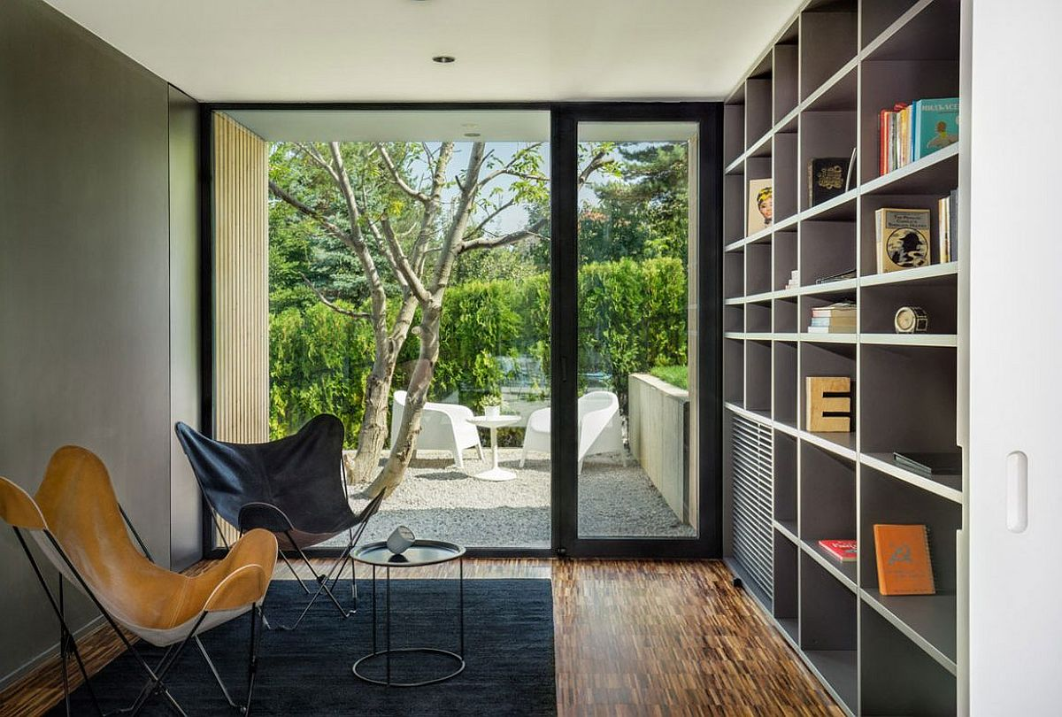 Home library of the modern home with bookshelf in gray