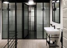 Industrial bathroom in black and white