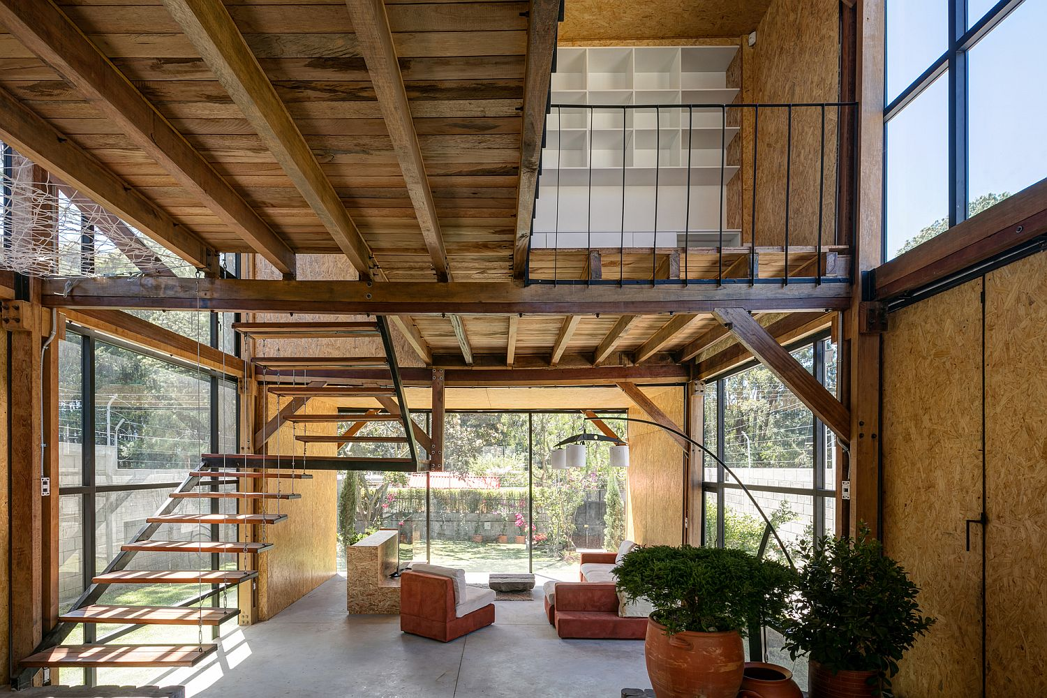 Interior of the family home clad in OSB panels