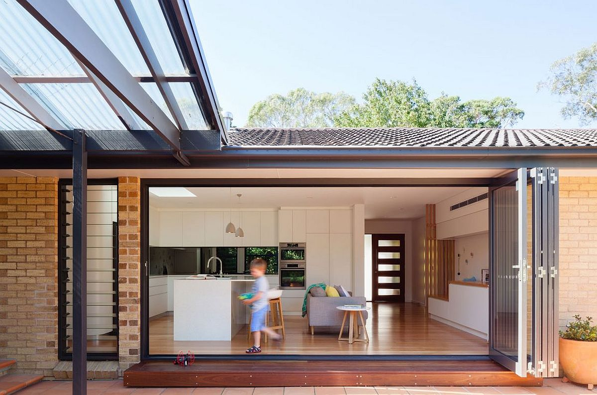 Kitchen and open family area of the Escu House in Sydney