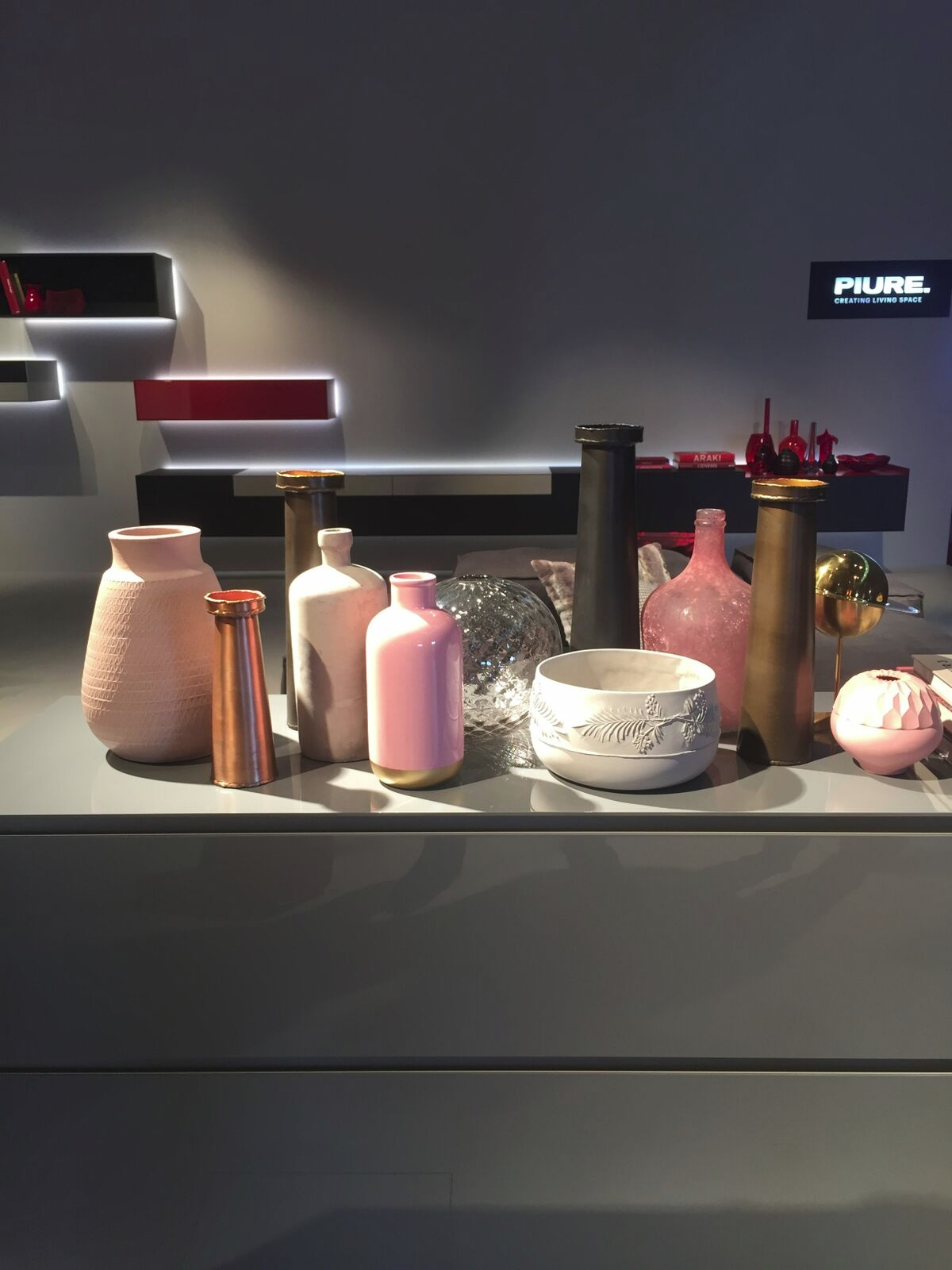 Layering vases in rosy shades