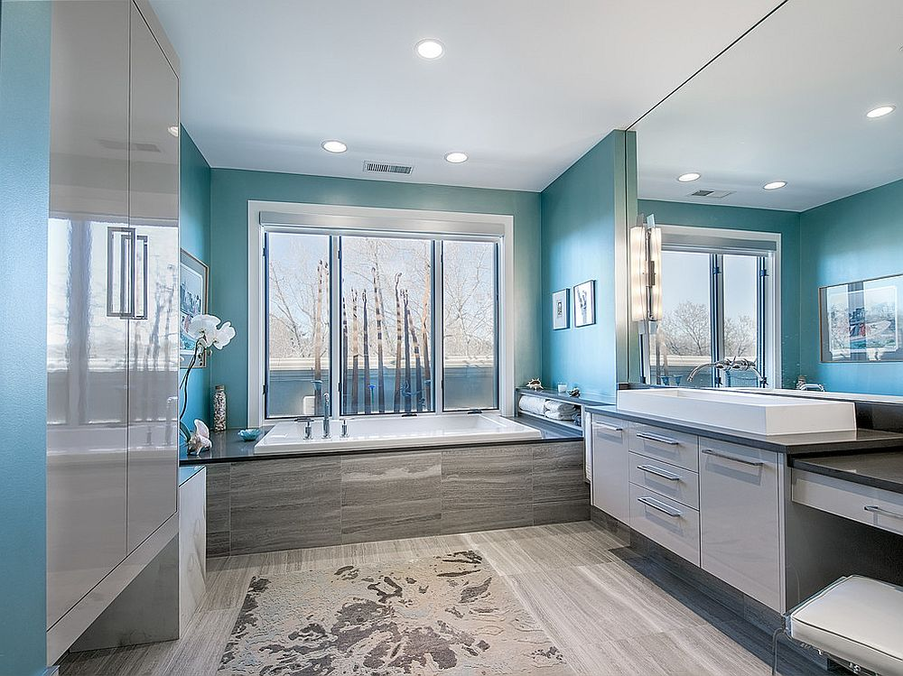Light-filled contemporary bathroom in blue and gray [From: Interior Intuitions / Teri Fotheringham Photography]