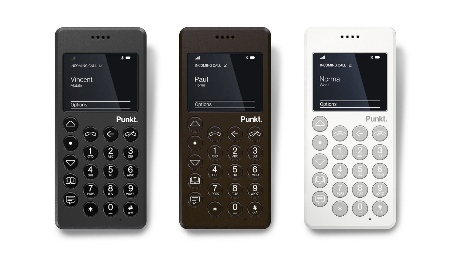 The MP01 is available in three hues: black, brown and white. Image via Punkt.