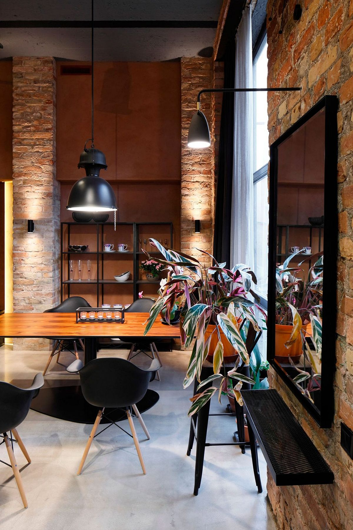 30 Ways To Create A Trendy Industrial Dining Room: Apartment UV Goes Modern Industrial Using Exposed Metal