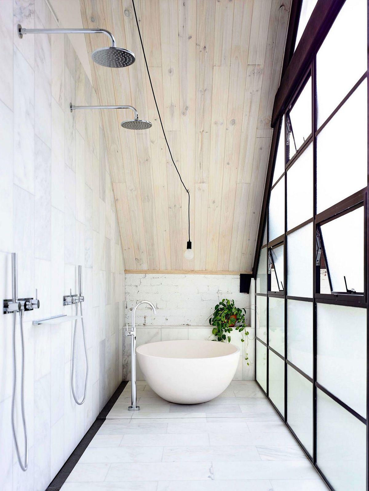 Narrow bathroom design with industrial style in white