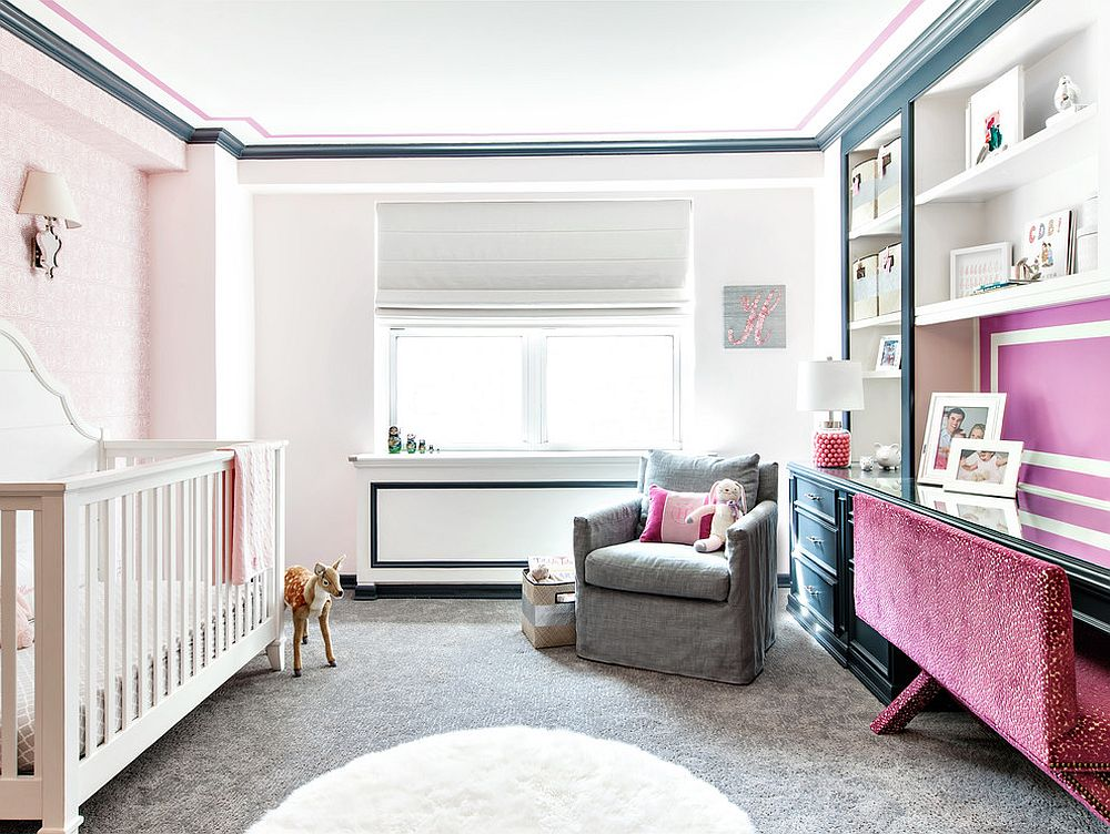 Nursery and home office rolled into one inside this glam New York home! [From: Touijer Designs/ Regan Wood Photography]