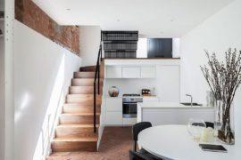 Congested Upholsterer's Workshop in London Altered into Multi-Level Modern Home