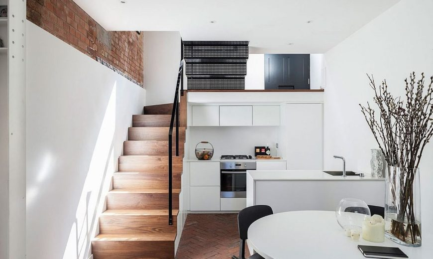 Congested Upholsterer's Workshop in London Altered into Multi-Level Modern Home