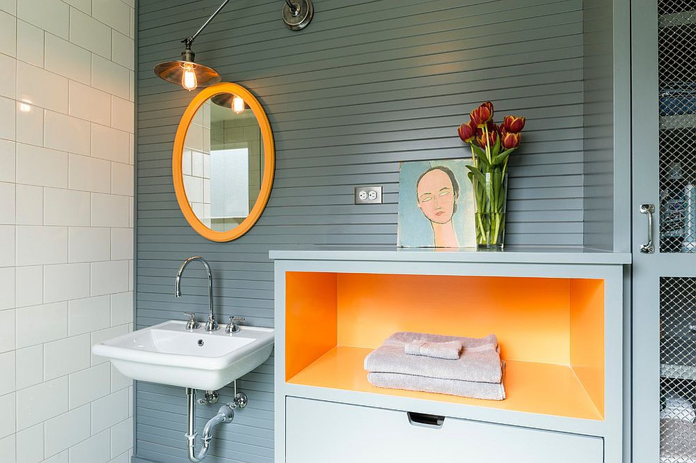 Orange Gives Cheerful Spunk To The Contemporary Bathroom Design J A S Design Build