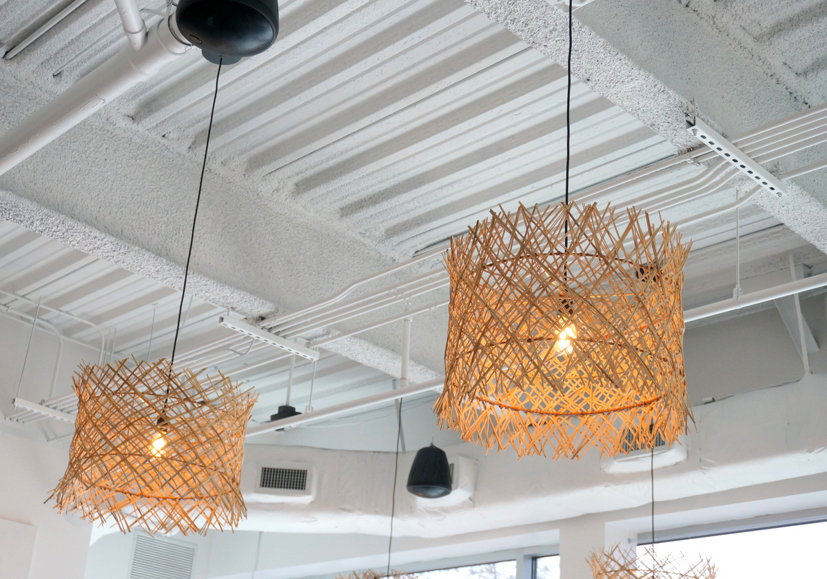 Pendant shades from CB2 add earthy style