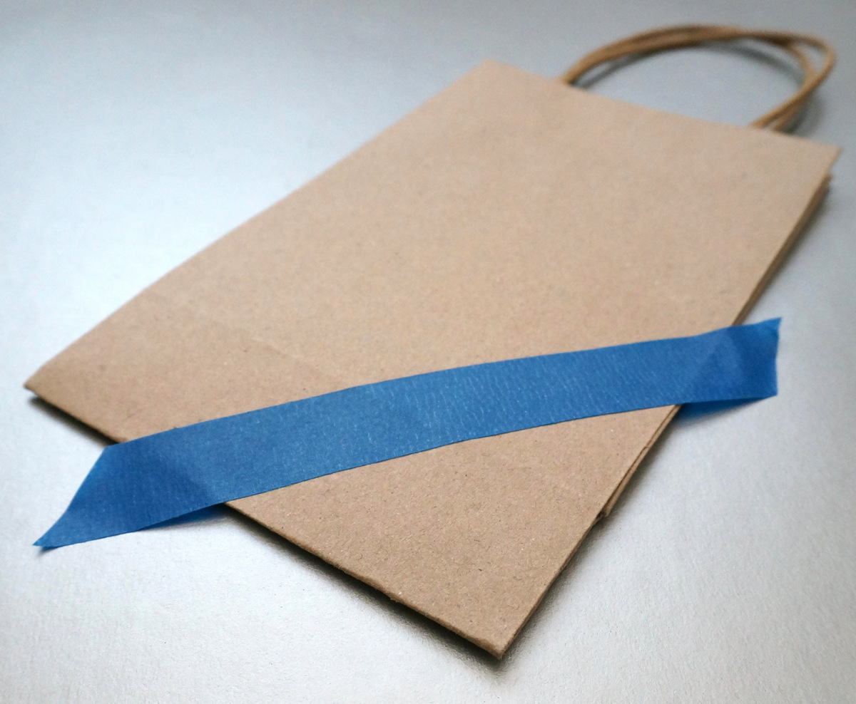 Place painter's tape on your bag