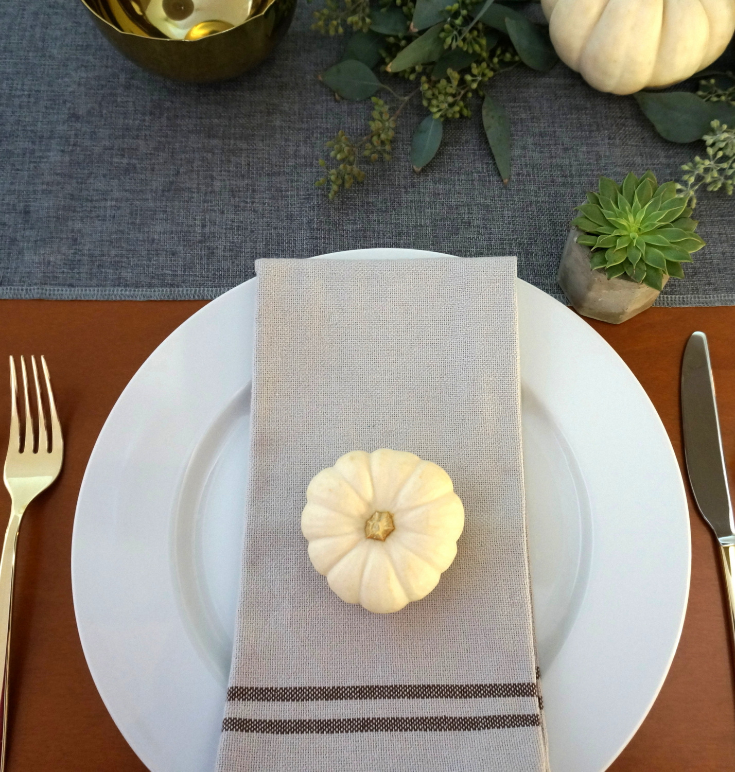 Pumpkin on a linen napkin