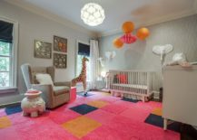 Rug tiles from FLOR enliven the nursery with a cheerful splash of pink 217x155 Trendy and Chic: Gray and Pink Nurseries That Delight!