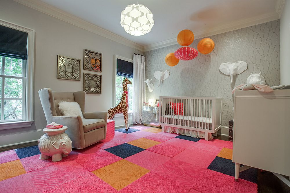 Rug tiles from FLOR enliven the nursery with a cheerful splash of pink [Design: Blu Sky Living]